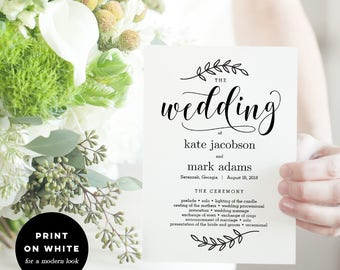 Wedding Program Fan or Flat Double-Sided Program Templates - Printable Wedding Program Instant Download - Rustic Elegance #REC