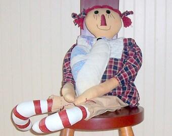 "Raggedy Ann, Primitive, Handmade, 27"" Tall, Ant quilt collar, Navy & Barn Red"