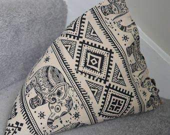 iPad Mini Beanie / Kindle Stand / e Reader Pillow / Tablet Cushion - Cream with black elephants