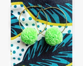 Lime green Pompom Hoop earring
