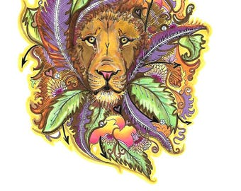 Leo Zodiac Starsign illustration print.