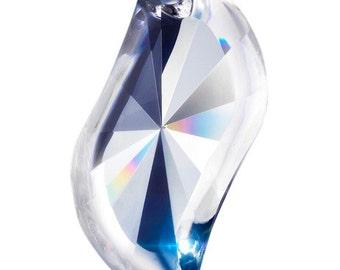ONE Clear S-Shape 89mm Asfour Lead Crystal Swirl Swing Pendant Full 30% Chandelier Prism Suncatcher