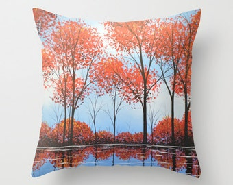 """Decorative throw pillows cover ... from my original abstract landscape painting, """"By the Shore"""" ... 16"""" x 16"""""""