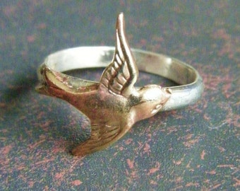 Brass Swallow Bird Ring on Sterling Silver, Art Nouveau, Tattoo, Steampunk Free Shipping Worldwide