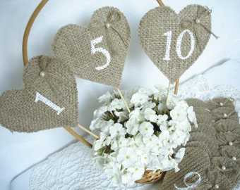 Set of 1-10- Burlap Wedding Table Numbers , Rustic Wedding Table Numbers, Burlap Table Number Tags, Burlap Centerpieces