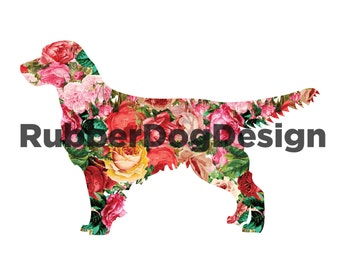Golden Retriever Vintage Flower Design - Digital Floral Clip Art Graphics for Personal or Commercial Use