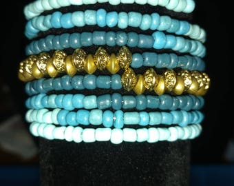 Teal/turquoise and gold wrap bracelet