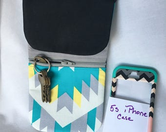 Indian Chevron Cell Phone Pouch in Teal, Black, Grey, Yellow and White, Chevron Zipper Cell Phone Pouch, Large Cross Body Cell Phone Pouch