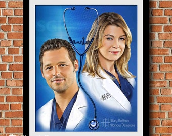 Meredith & Alex Friendship Digital Painting Print, Grey's Anatomy