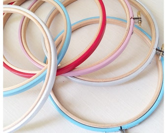 6 inch Embroidery Hoop. Hand Embroidery. Colored Hoops.  DIY Crafts. Modern, Hand Embroidery Frames. Embroidery Frame. Rustic Home Decor
