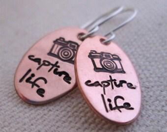 Hand Stamped Earrings - Capture Life Earrings - Camera Earrings - Stamped Jewelry