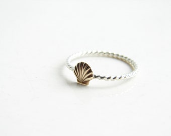 Tiny Shell Ring. Stacking Nautical Ring. Sea, Ship and Sky. Made to order. Simple Modern Everyday Jewelry