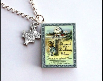 Through The Looking Glass With Tiny White Rabbit Charm - Miniature Book Necklace