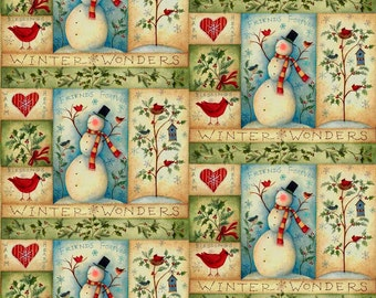 Christmas Fabric, Snowman Fabric, Trees/Birds/Snowman Patch,  Xmas Fabric, Quilting Fabric, Home Decor/Diy/Craft Supplies/Sewing Supplies