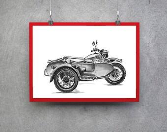 Ural Motorcycle Motorcycle Gift Idea Ural Bike Poster Motorcycle Wall Art Motorcycle Print Motorcyclist Gift Motorcycle Art Motorcycle Gift