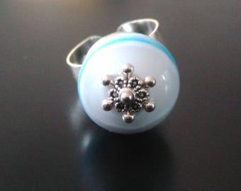 """""""Sailor"""" handmade Lampwork Glass ring"""