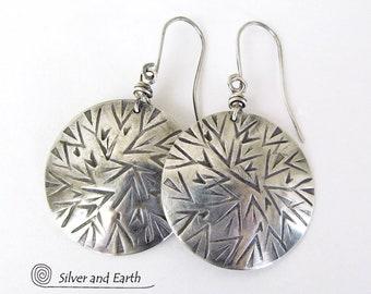 Sterling Silver Dangle Earrings, Bold Modern Earrings, Solid Silver, Round Silver Earrings, Stamped Silver, Handmade Sterling Silver Jewelry