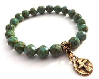 Mothers Day Gift, Cross Bracelet, Turquoise Green Bracelet, Christian Jewelry, Gold Bronze Cross, Stacking Bracelet, Graduation, Mother Gift