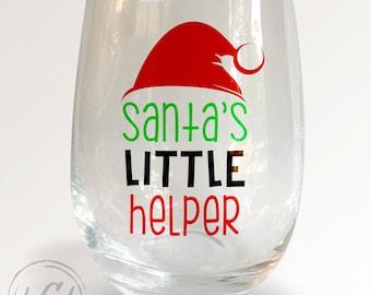 Santa's Little Helper Stemless Wineglass