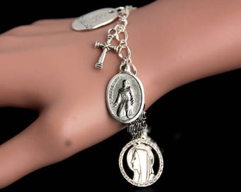 Saint Peregrine Charm Bracelet. St Peregrine Bracelet. Catholic Bracelet. Patron Saint Bracelet. Saint Medal Bracelet. Catholic Jewelry.