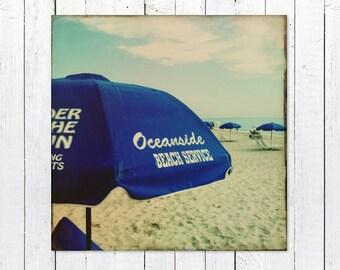 Printable Beach Photo | Beach Photography Digital Download | Blue Beach Umbrella by the Sea | Printable Beach Wall Art | Digital Print