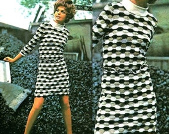 Crochet Pattern - Black White Dress - Vintage Pattern - PDF Instant Download - 70s Mini Dress - Digital Pattern - Shift Wiggle Dress - Vtg