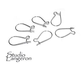 925 Sterling Silver Small Kidney Ear Wire - 2/6/10 pieces, Silver earrings, Ear wire, Silver ear wire, Earring components, Earring findings