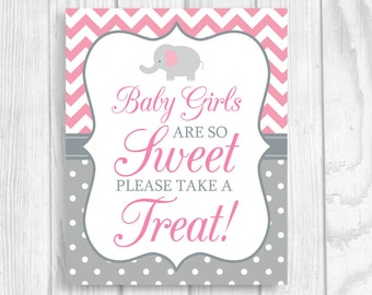 Baby Girls Are So Sweet Please Take A Treat 5x7, 8x10 Printable Elephant Baby Shower Candy Buffet Sign in Pink Chevron and Gray Polka Dots