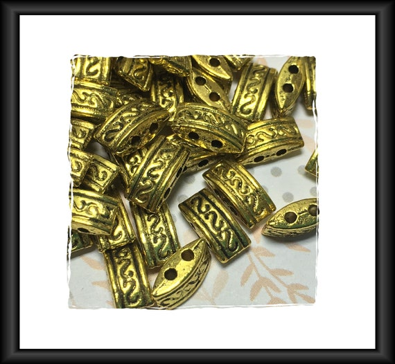 Bright Gold Two Hole Spacer Two Strand Bar Bead 10x5mm, 20 beads/bars