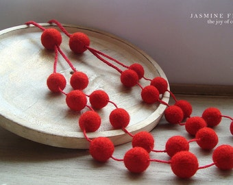 Irresistible Red Necklace, Felt Necklace, Wool Necklace, Textile Jewelry, Felt balls, Eco friendly jewelry, Felted jewelry