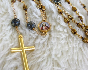 Rosary Gold Bronze Pyrite Stone Bronze Glass Cubes Mary & Jesus Center Handmade Double Wrapped Unbreakable Wire Work Handmade Jewelry Canada