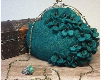 Teal Floral Felted Mini Crossbody with Delicate Beading
