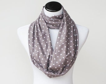 Gray scarf, grey and white scarf, Infinity scarf gray white polka dots scarf circle scarf loop scarf gift for women and girls