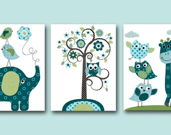 Childrens Art Kids Wall Art Kids Art Baby Boy Nursery Decor Baby Room Decor Childrens Room Decor Baby Boy Art set of 3 Owl Blue Green