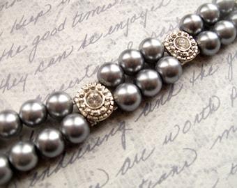 Bracelet gris perle Double brin