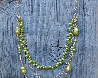 Three Strand,Green Pearl, Crystal and Gold Necklace