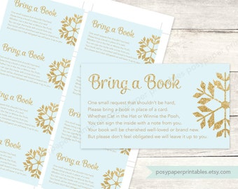 bring a book instead of a card insert printable baby shower DIY blue gold glitter snowflakes baby boy digital - INSTANT DOWNLOAD