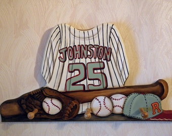 Baseball Jersey custom wall hanging with 3 pegs
