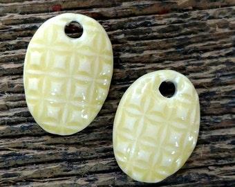 Ceramic Beads, Ceramic Charms, Ceramic Pendants, Leaf Beads, Leaf Charms, Leaf Pendants,Ceramic Pendant, Yellow Charms, Yellow Earrings