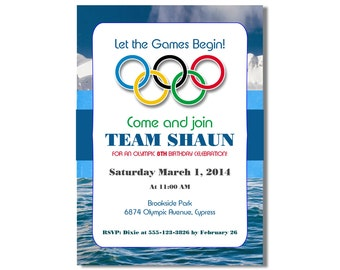 Olympics birthday invitation, Winter Olympic Birthday Invitation, printable, digital file, DIY