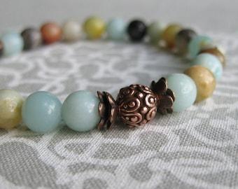 Flower Amazonite Stretch Bracelet-Copper Beaded Bracelet-Stackable-Beaded Stretch Bracelet-Aqua-Tan-Natural Gemstone Bracelet