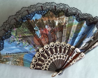 Vintage spanischen Falten Ventilator Torremolinos Szenen gedruckt, Stoff und Kunststoff