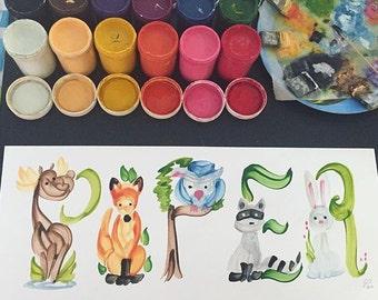 Bois, forêt, chouette, renard Animal créatures nom peinture - personnalisé, réalisé sur commande
