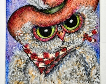 Country Hoot, is an artist trading card, art collectable of a cute whimsical owl dressed in cowboy hat and bandana, fun art