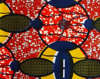 West African cotton print - 1/2 yard of red Circles