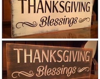 "Custom Carved Wooden Sign - ""Thanksgiving Blessings"""