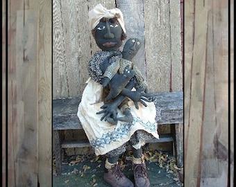 large primitive folk art Grammy doll black boy doll primitive cat instant download pattern HAFAIR HAGUILD OFG faap 305-6