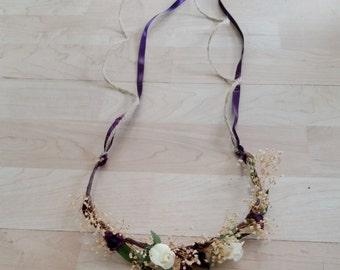 Toddler halo dried flower headband style hair wreath mini flower crown plum purple Woodland Rustic chic wedding bridal girl accessories