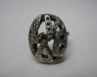 Love Silver Ring Adjustable Vintage