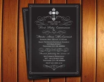 Chalkboard First Communion Invitation - Digital 1st Communion Invite